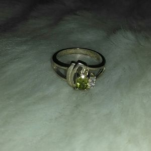Peridot/Cubic Zirconia Sterling Silver Ring Size 6